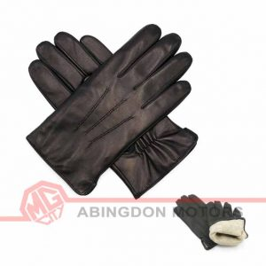 Lined Lambskin Leather Gloves - Black
