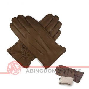 Lined Lambskin Leather Gloves - Brown