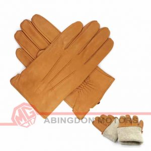 Lined Lambskin Leather Gloves - Tan